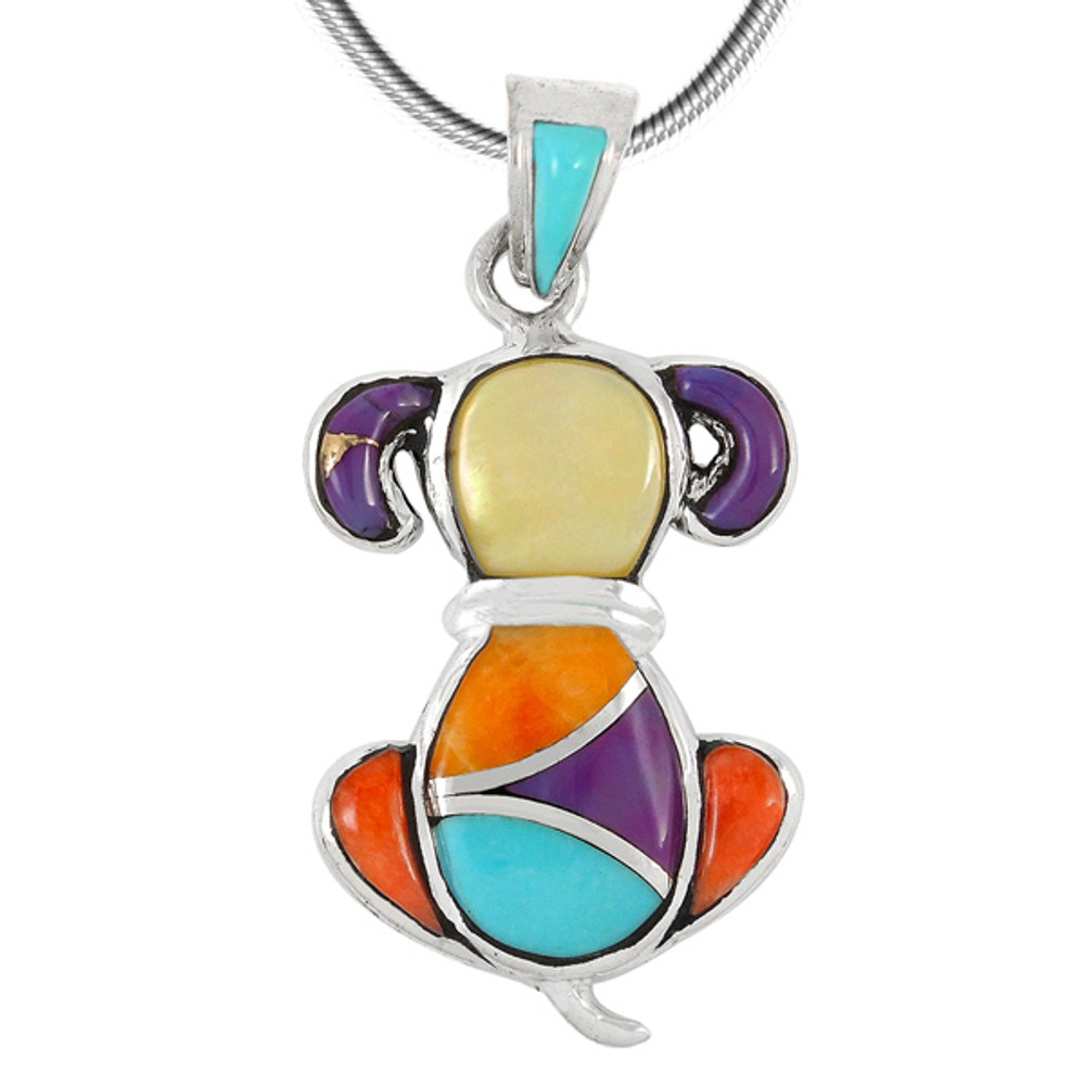 Sterling Silver Puppy Dog Pendant Multi Gemstones P3244-C01
