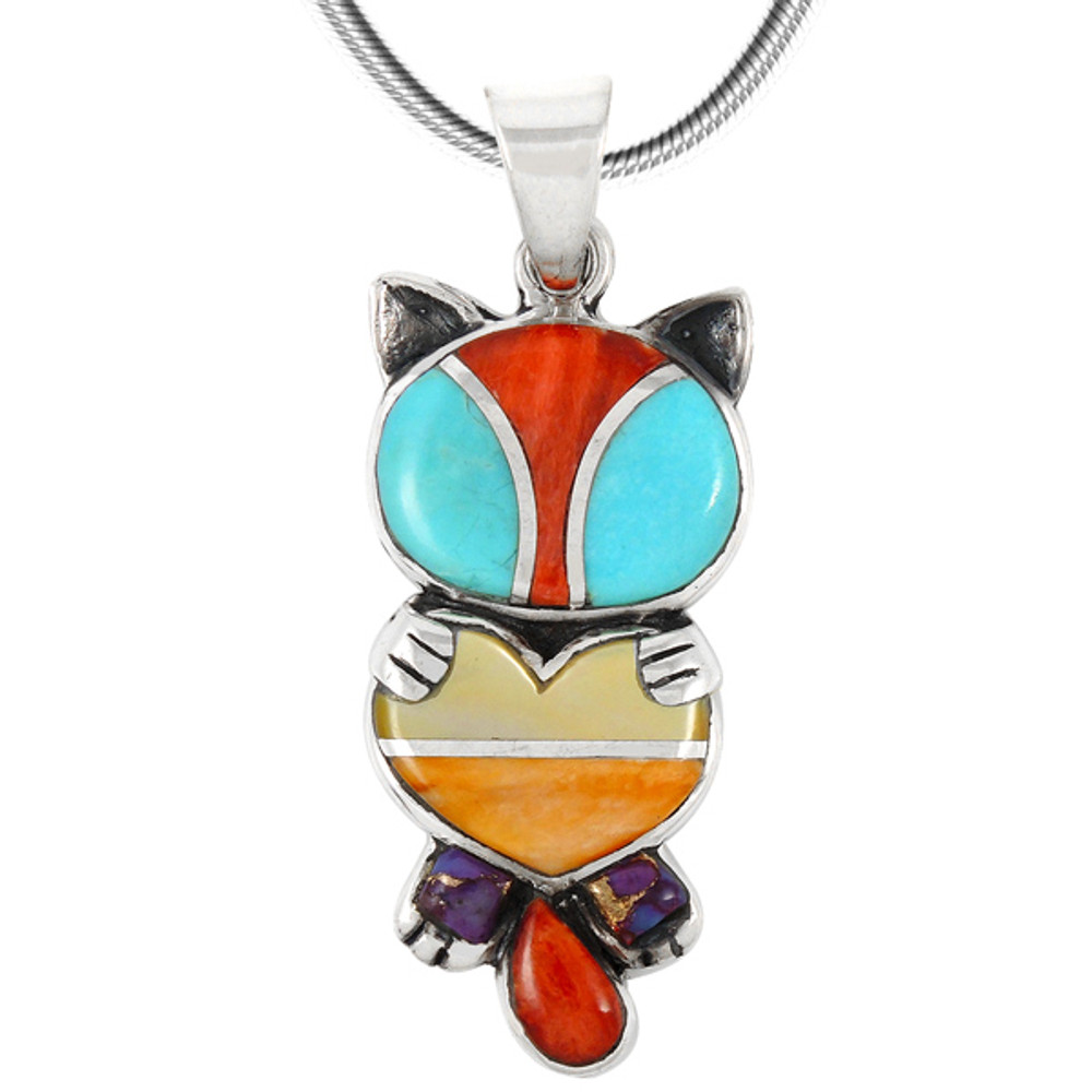 Sterling Silver Kitty Cat Pendant Multi Gemstones P3249-C01