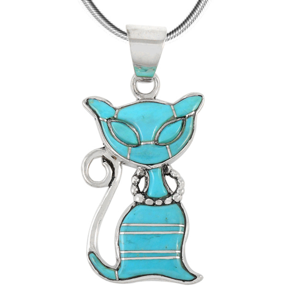 Sterling Silver Kitty Cat Pendant Turquoise P3250-C05