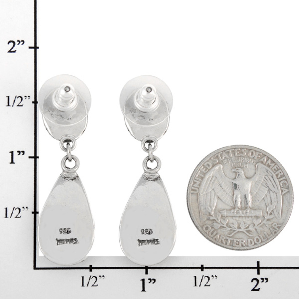 Sterling Silver Earrings Matrix Turquoise E1247-C84