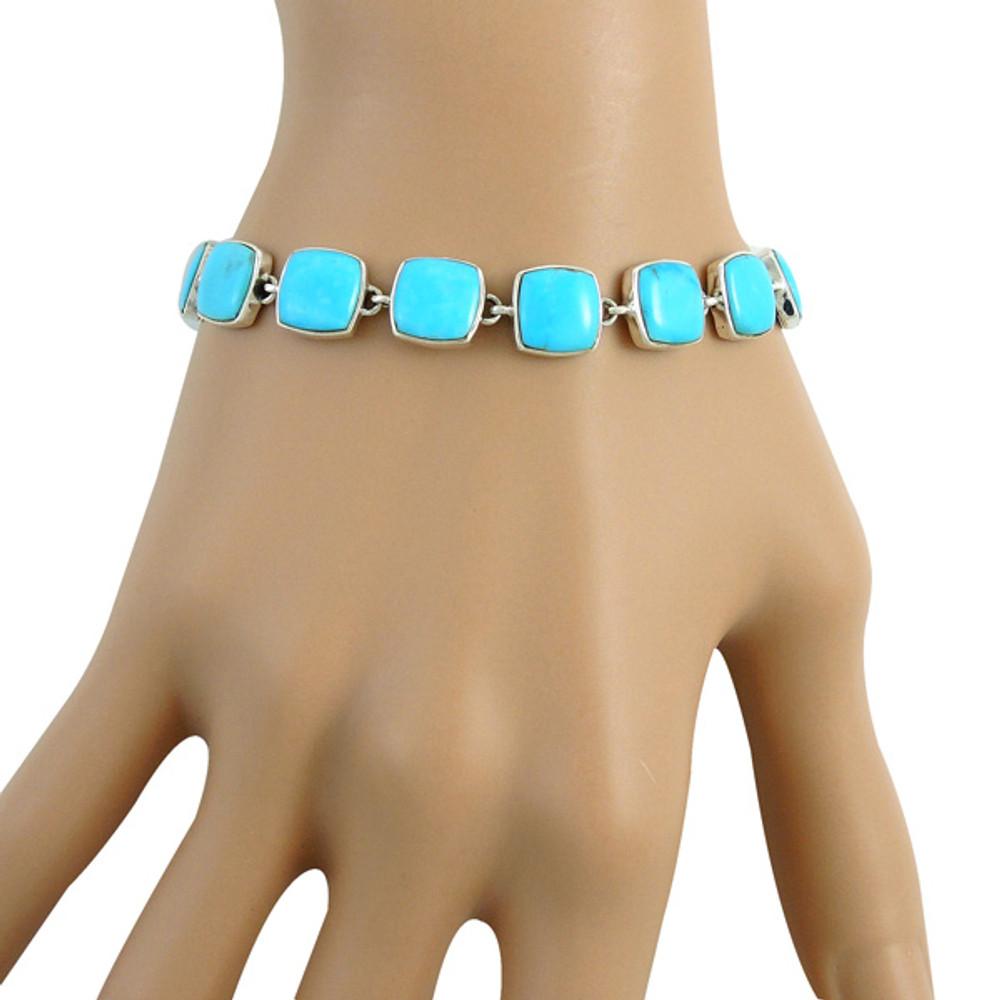 Turquoise Link Bracelet Sterling Silver B5561-C75