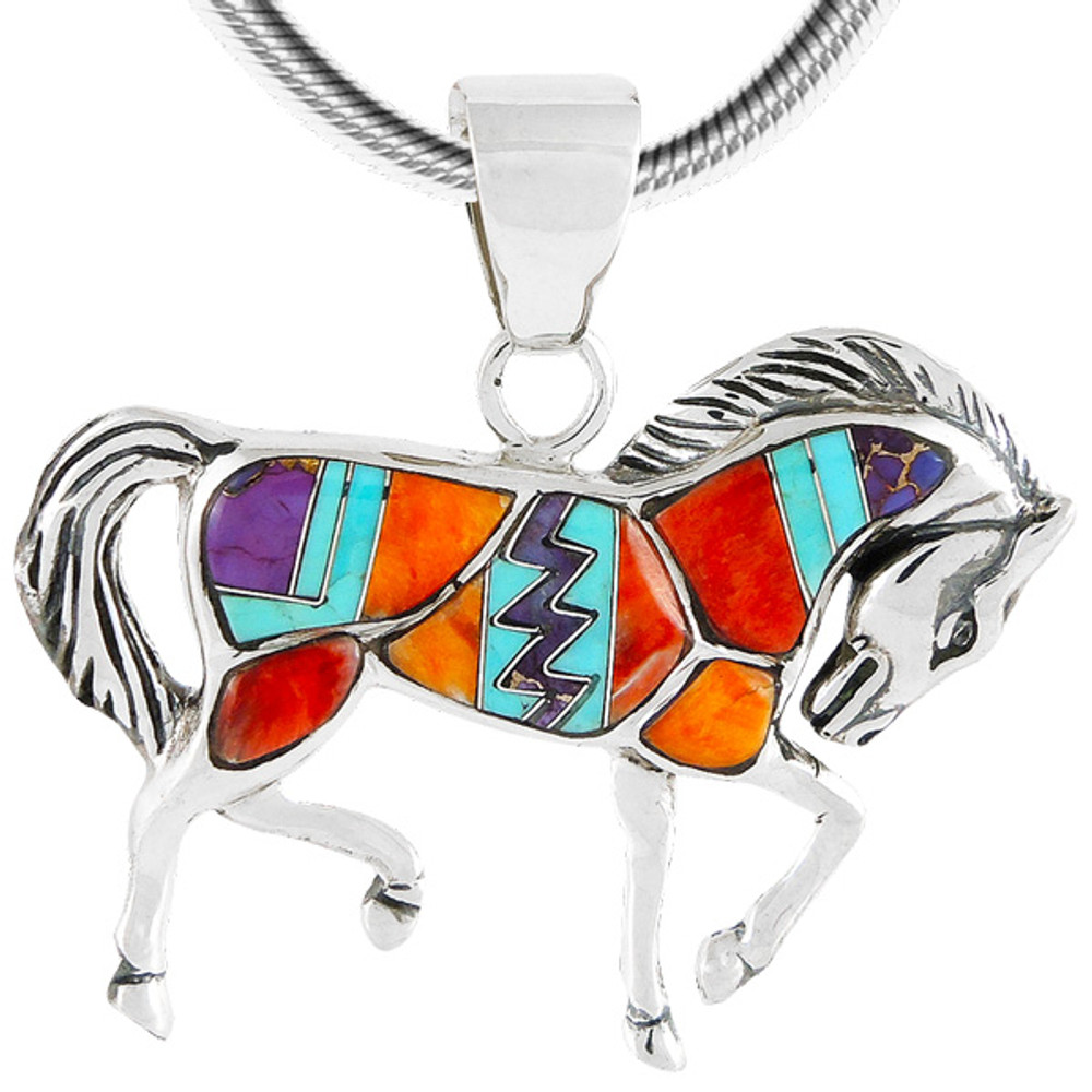 Sterling Silver Horse Pendant Multi Gemstones P3125-C30