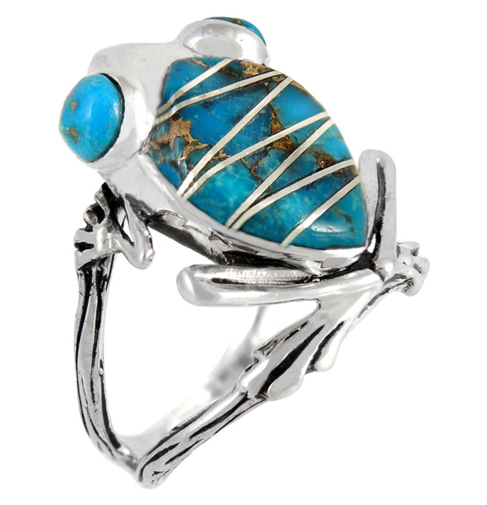 Frog Ring Sterling Silver Matrix Turquoise R2266-C84