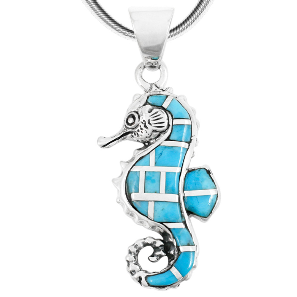 Sterling Silver Sea Horse Pendant Turquoise P3149-SM-C05