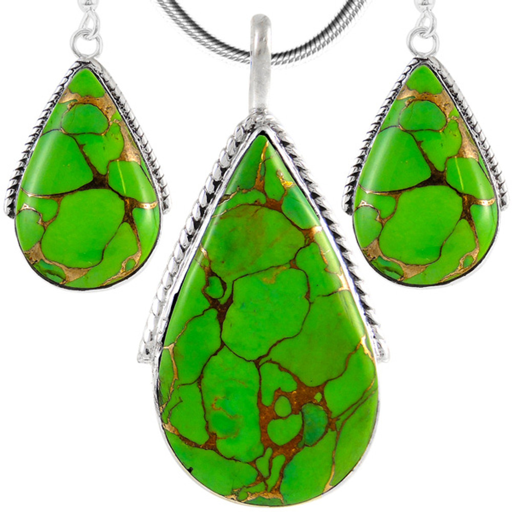 Sterling Silver Pendant & Earrings Set Green Turquoise PE4054-C76