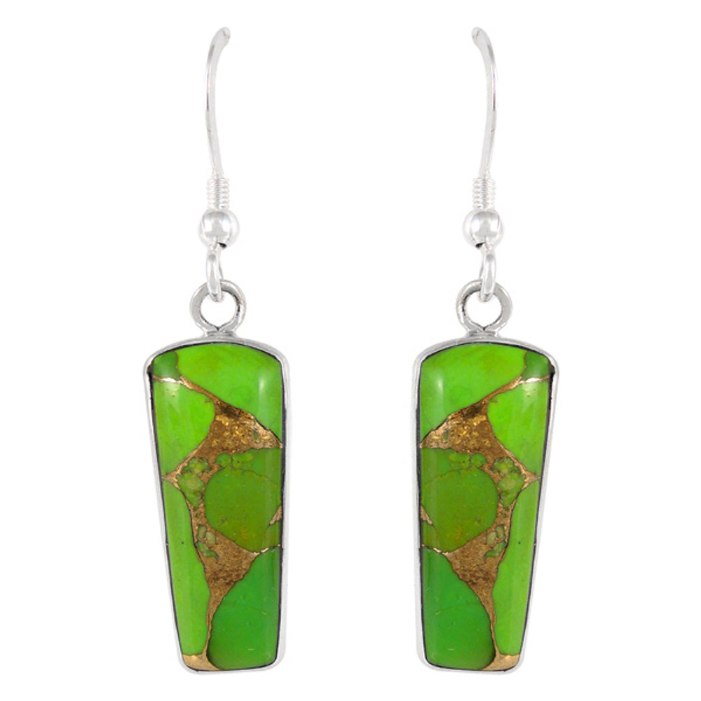 Sterling Silver Earrings Green Turquoise E1190-C76