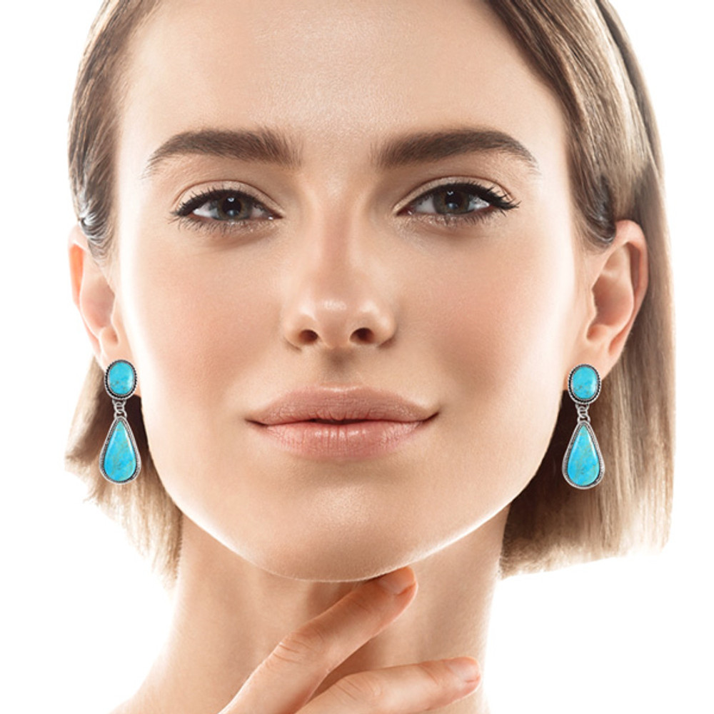 Sterling Silver Earrings Turquoise E1247-C75
