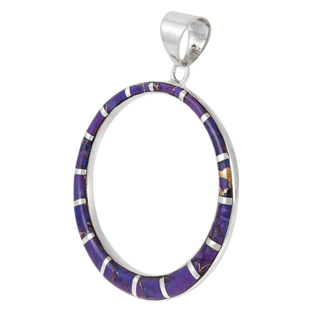 Sterling Silver Pendant Purple Turquoise P3124-C07