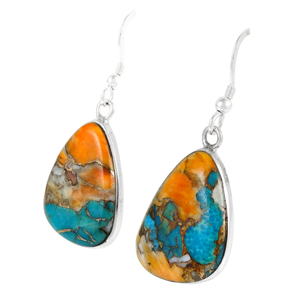 Sterling Silver Drop Earrings Spiny Turquoise E1058-C89