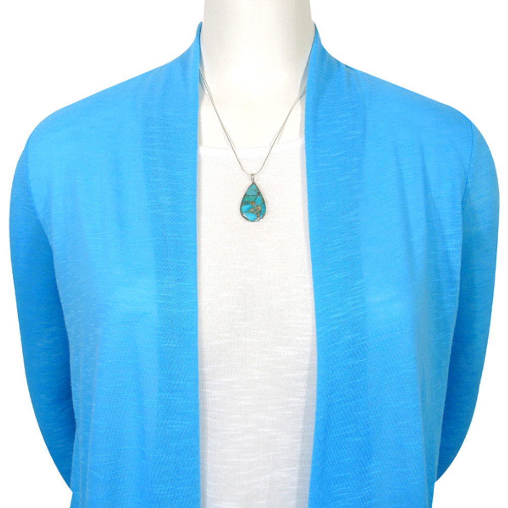 Sterling Silver Pendant Matrix Turquoise P3269-C84