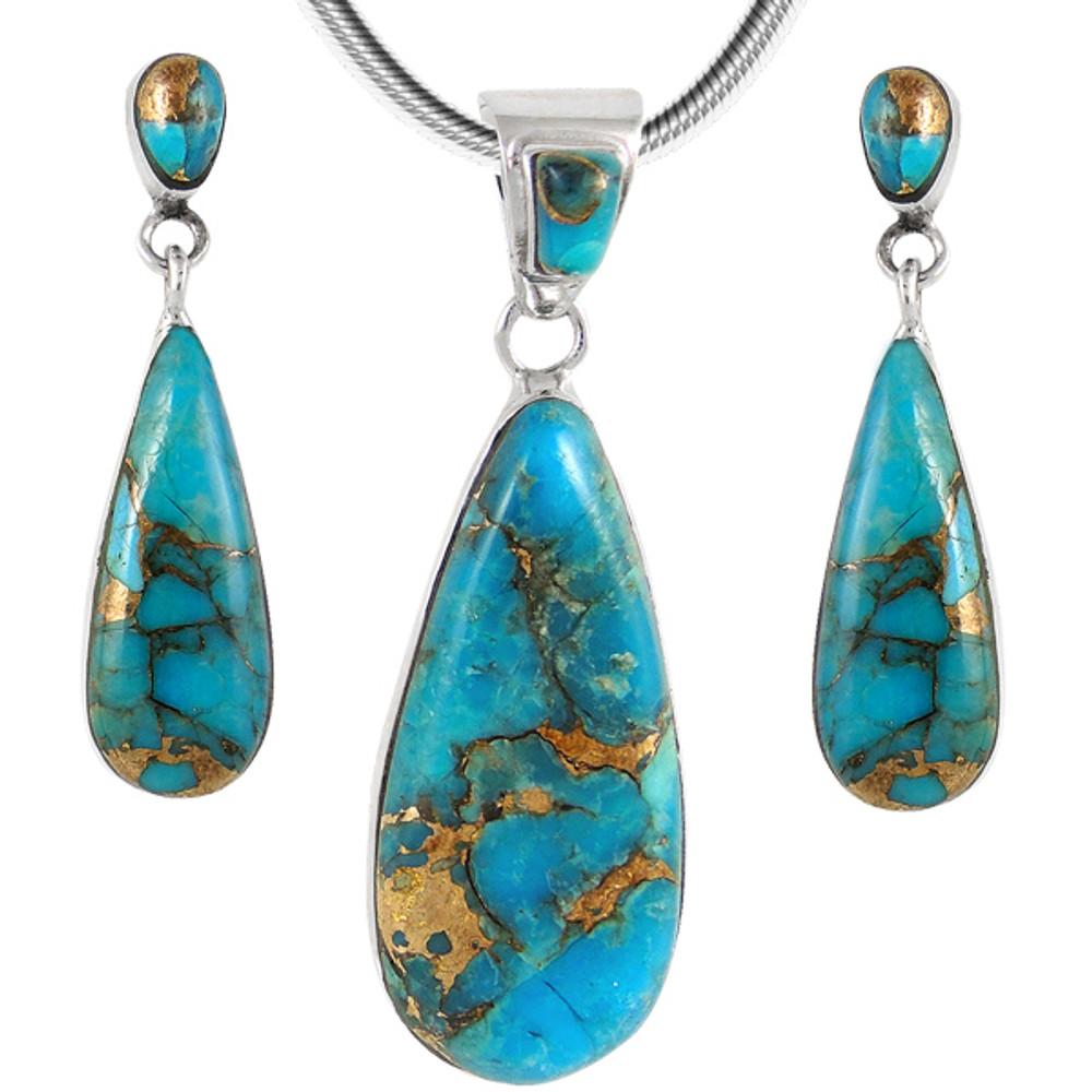 Sterling Silver Pendant & Earrings Set Matrix Turquoise PE4014-C84