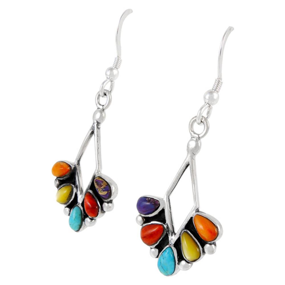 Sterling Silver Earrings Multi Gemstones E1276-C71