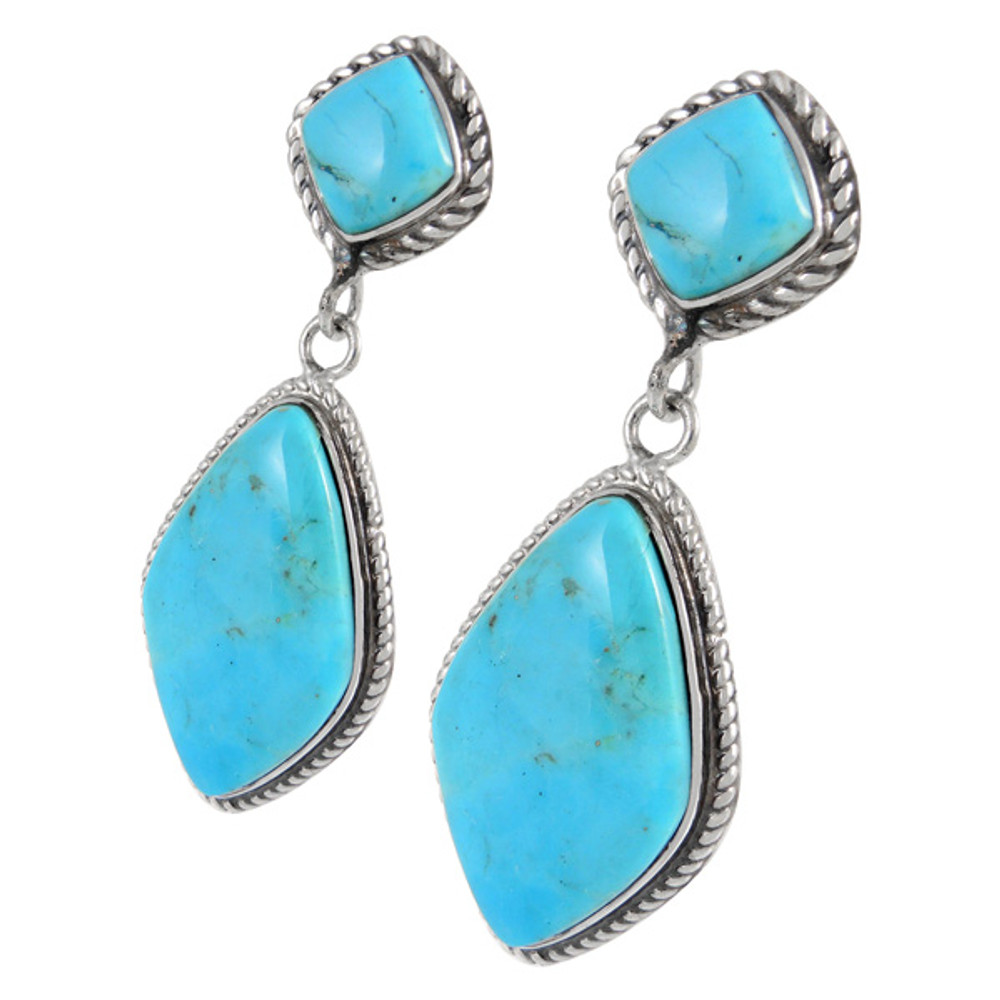Sterling Silver Earrings Turquoise E1284-C75