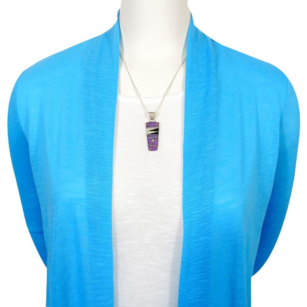 Sterling Silver Pendant & Earrings Set Purple Turquoise PE4030-C23