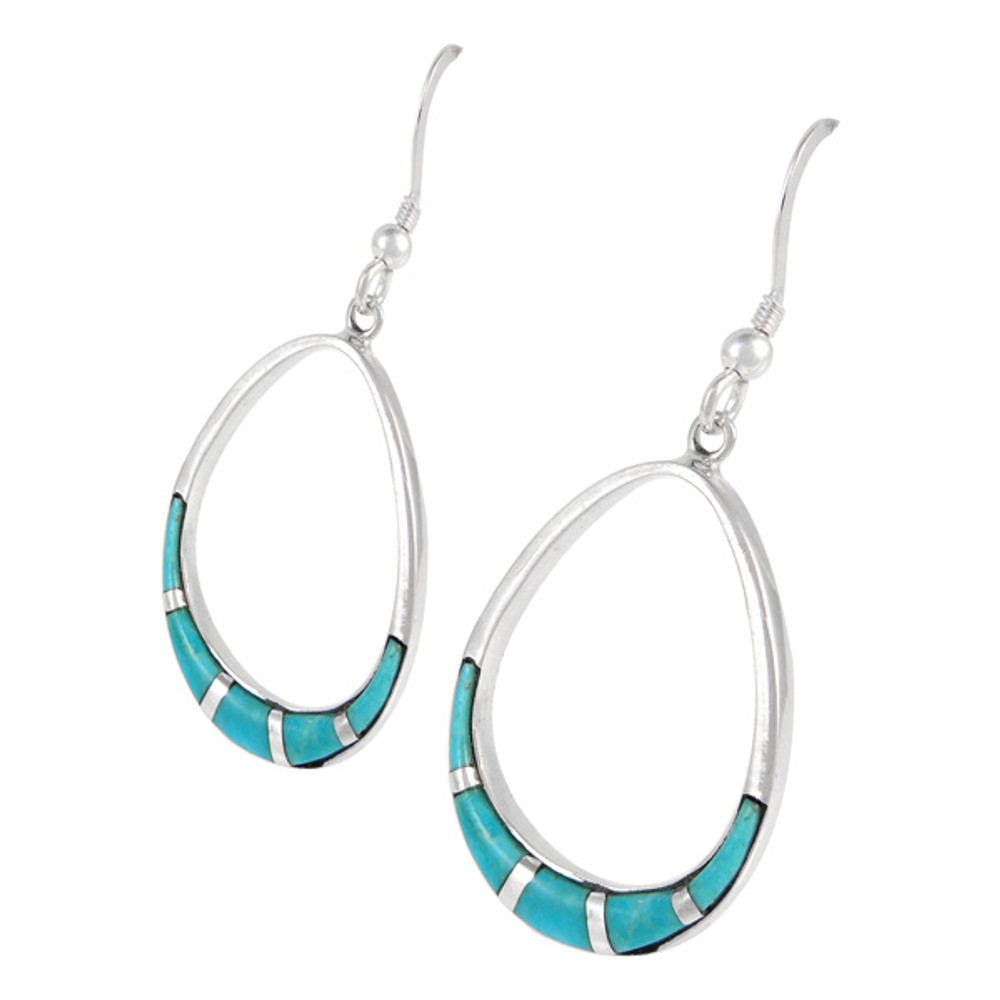 Sterling Silver Earrings Matrix Turquoise E1291-C05