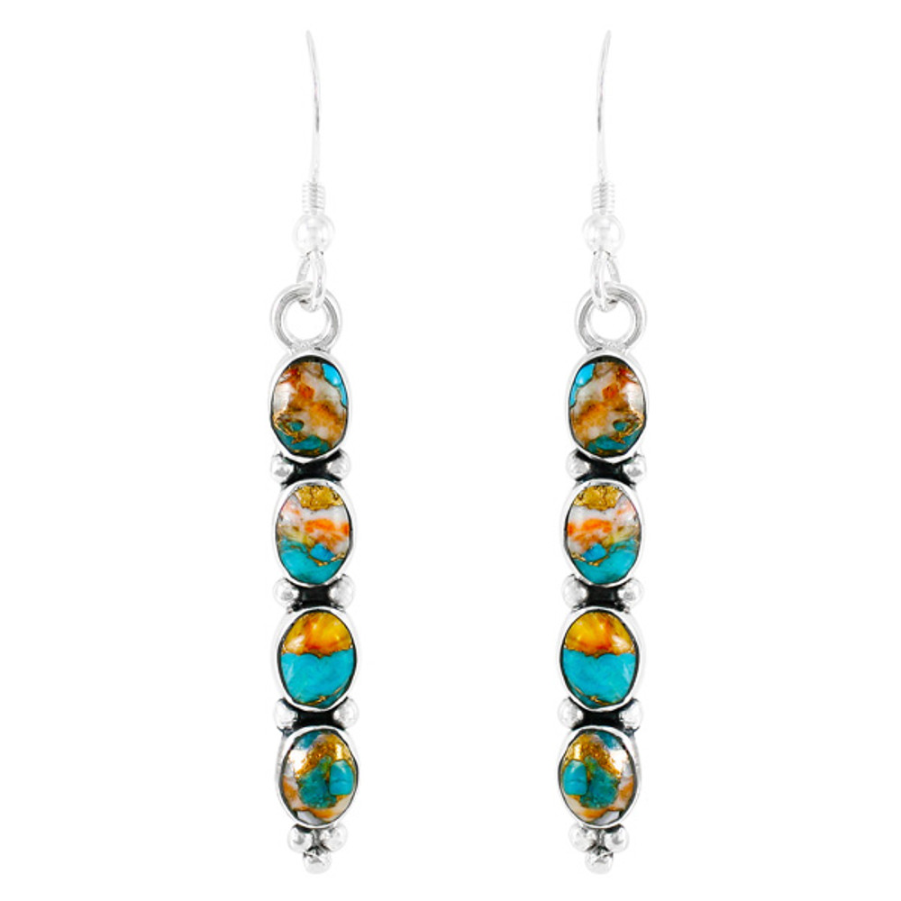 Sterling Silver Earrings Spiny Turquoise E1174-C89
