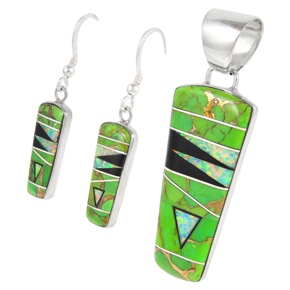 Sterling Silver Pendant & Earrings Set Green Turquoise PE4030-C22
