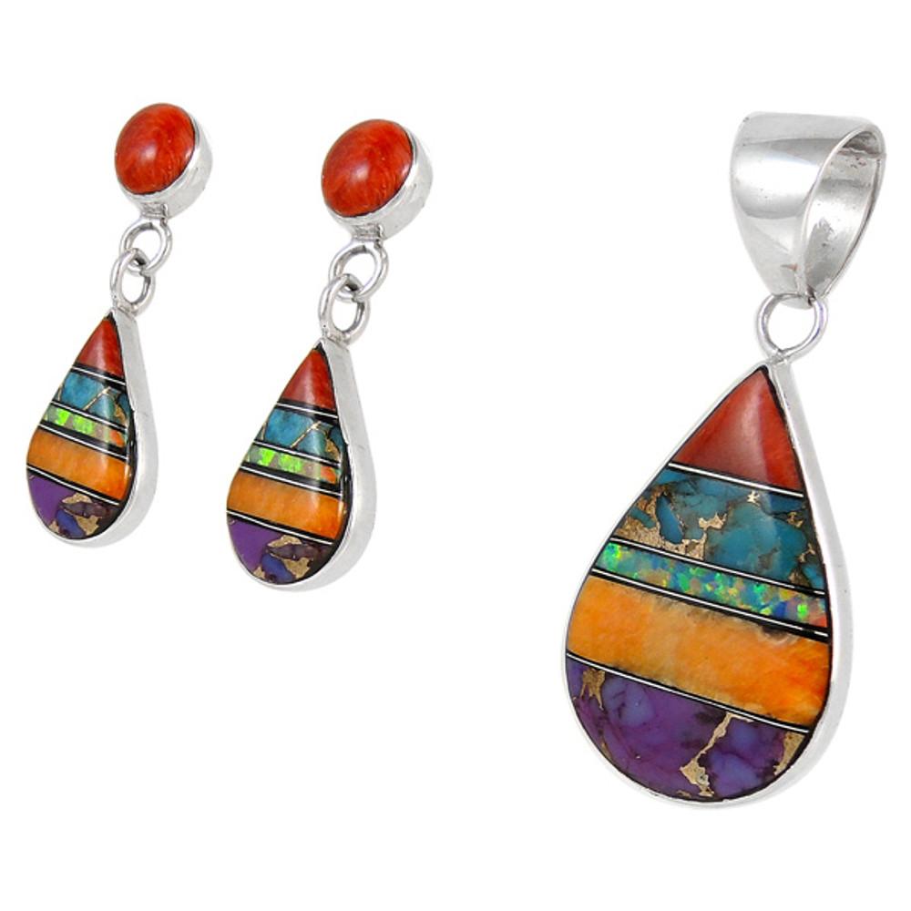 Sterling Silver Pendant & Earrings Set Multi Gemstone PE4023-SM-C01A