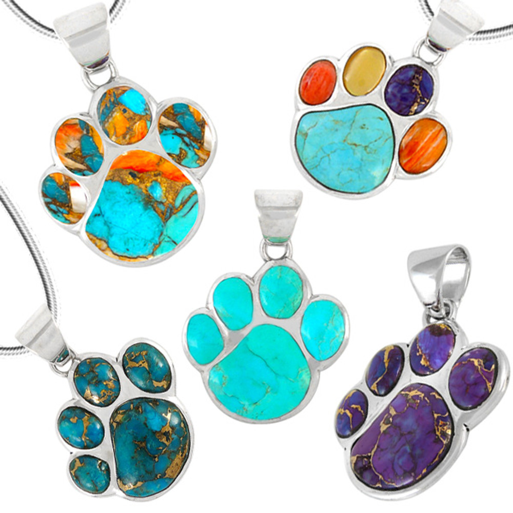 Dog Paw Pendant Turquoise Sterling Silver P3178