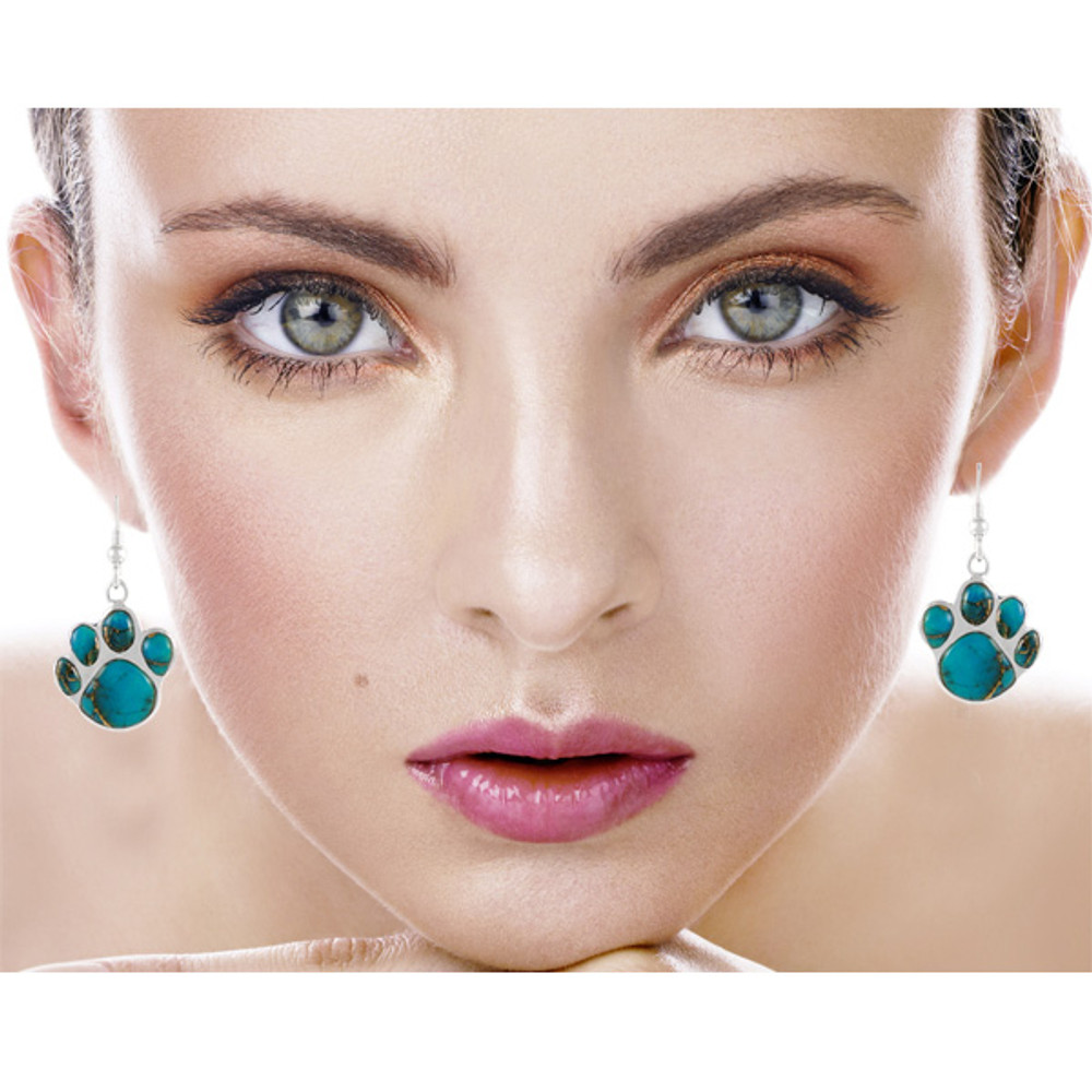 Dog Paw Earrings Turquoise Sterling Silver E1240