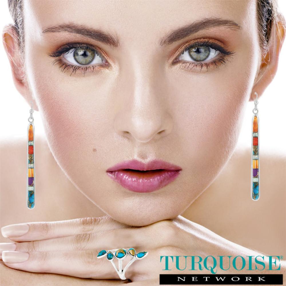Multi Gemstone Drop Earrings Sterling Silver E1250W-C00