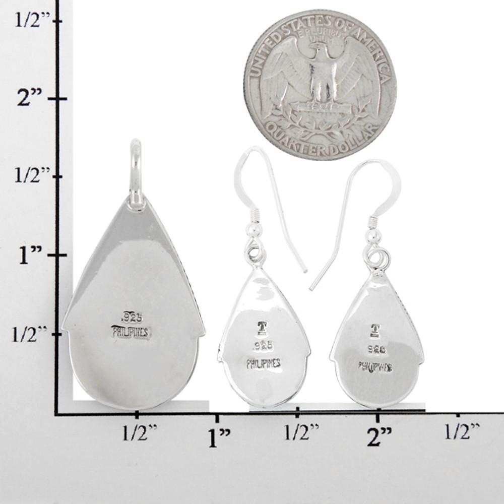 Multi-Gemstone Turquoise Pendant & Earrings Set Sterling Silver PE4054-C01