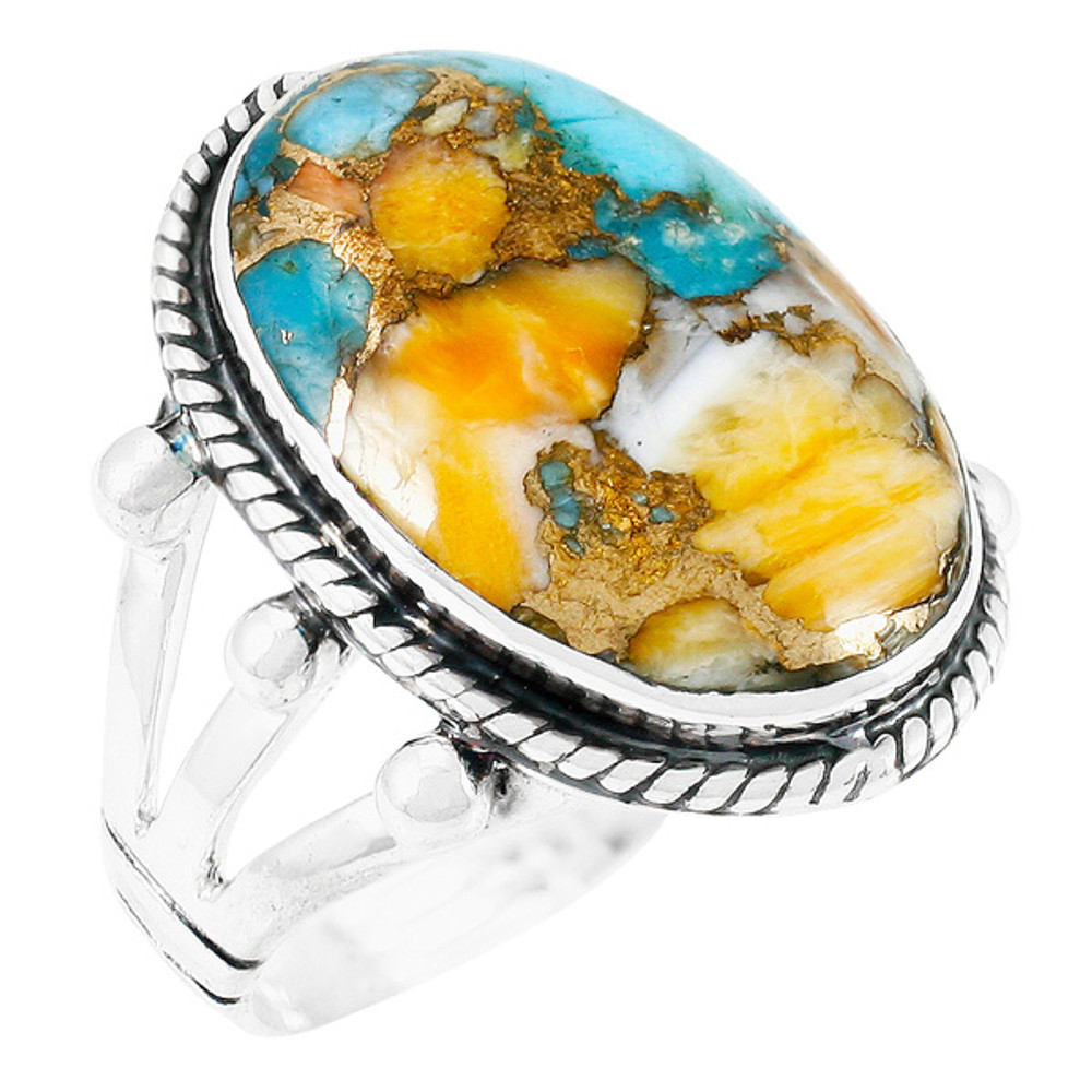 Spiny Turquoise Ring Sterling Silver R2381-C89