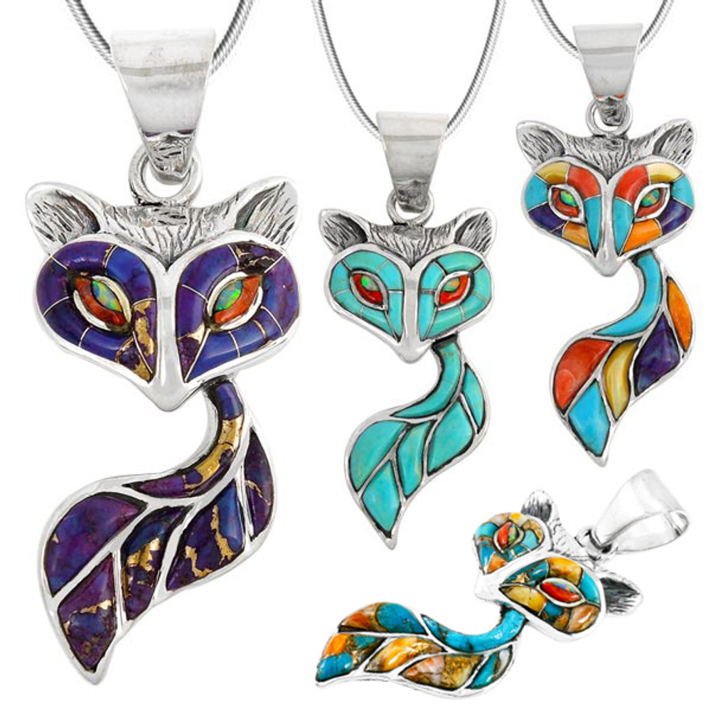 Fox Pendant Turquoise Sterling Silver P3160