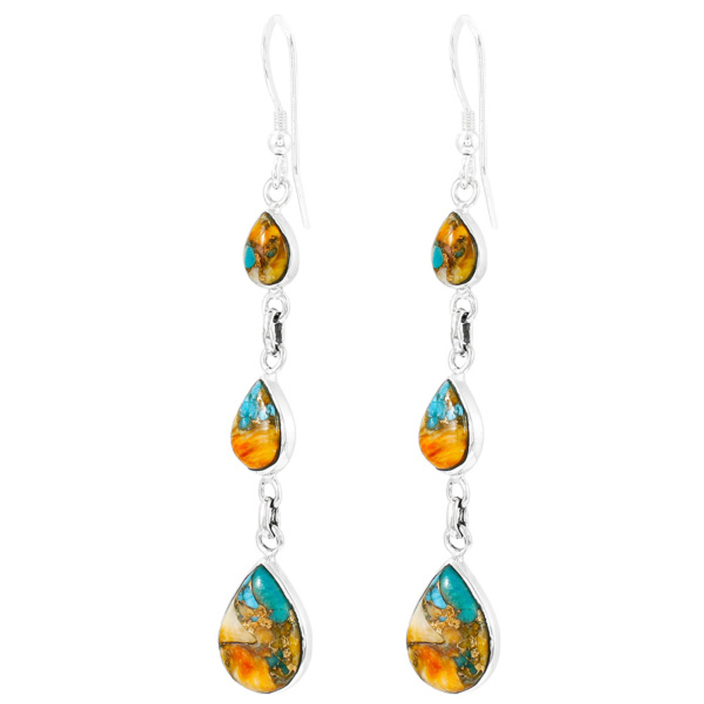 Spiny Turquoise Earrings Sterling Silver Turquoise E1241-C89