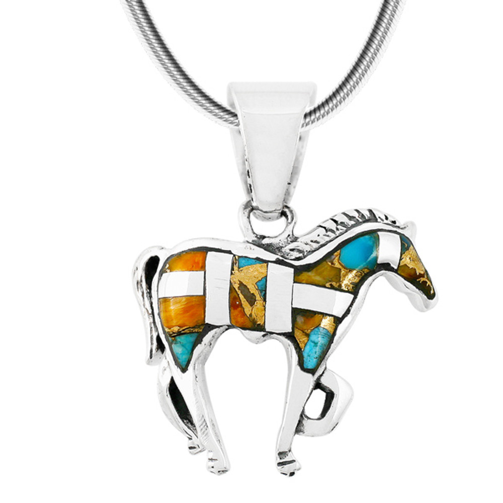 Sterling Silver Horse Pendant Spiny Turquoise P3109-C89