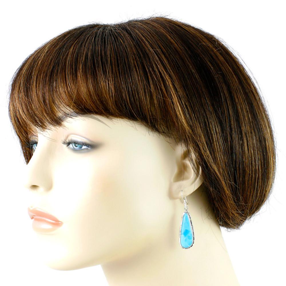 Turquoise Drop Earrings Sterling Silver E1300-C75