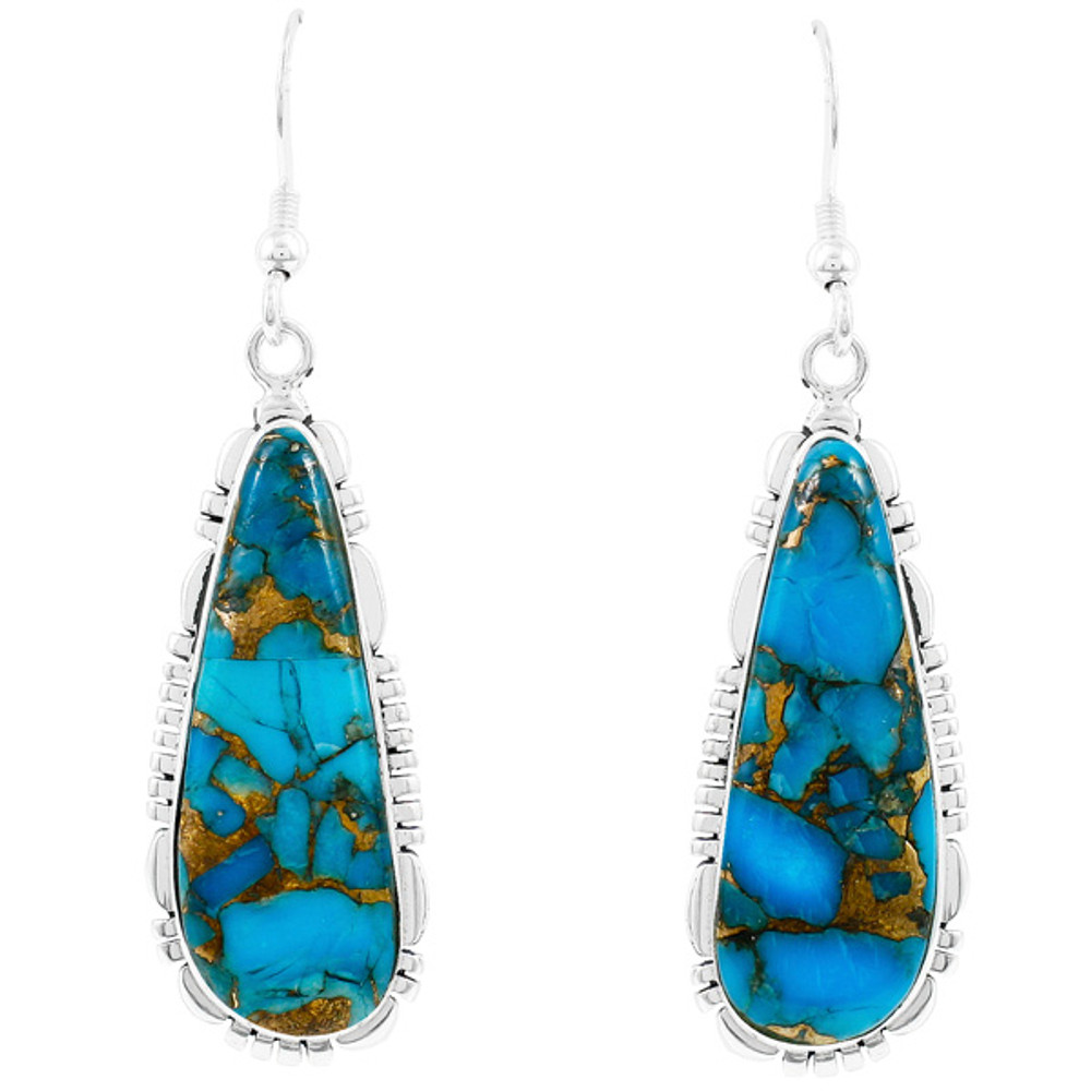 Matrix Turquoise Drop Earrings Sterling Silver E1300-C84