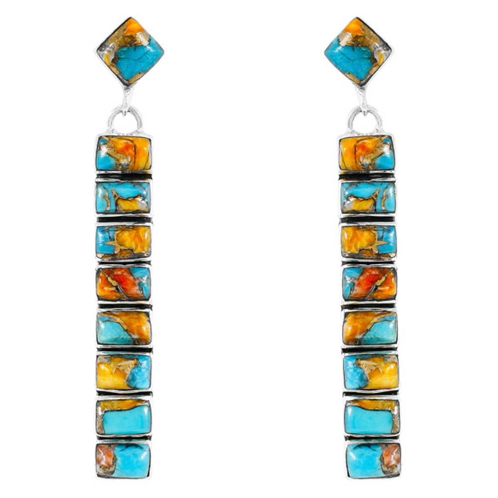 Spiny Turquoise Earrings Sterling Silver E1305-C89