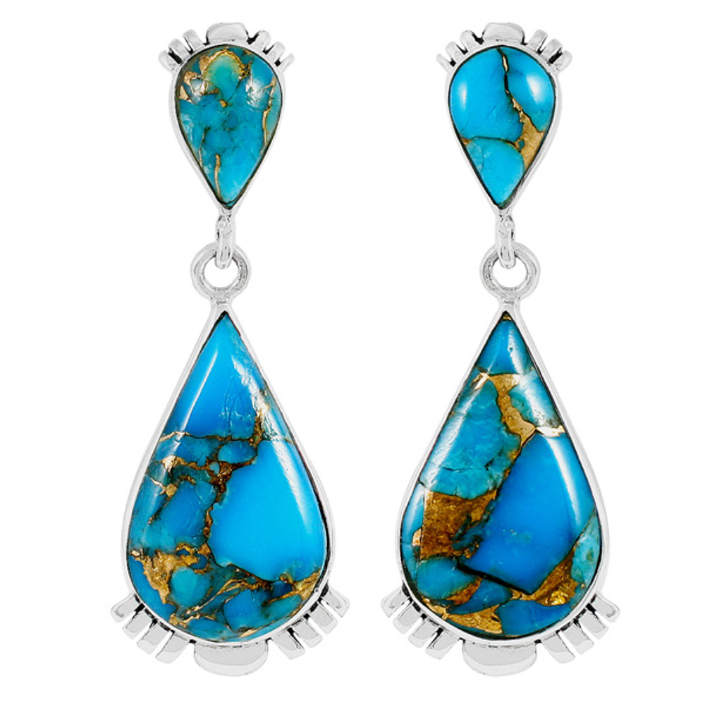 Matrix Turquoise Earrings Sterling Silver E1303-C84