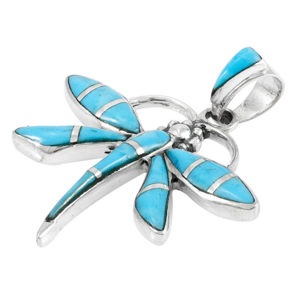Sterling Silver Dragonfly Pendant Turquoise P3274-C05