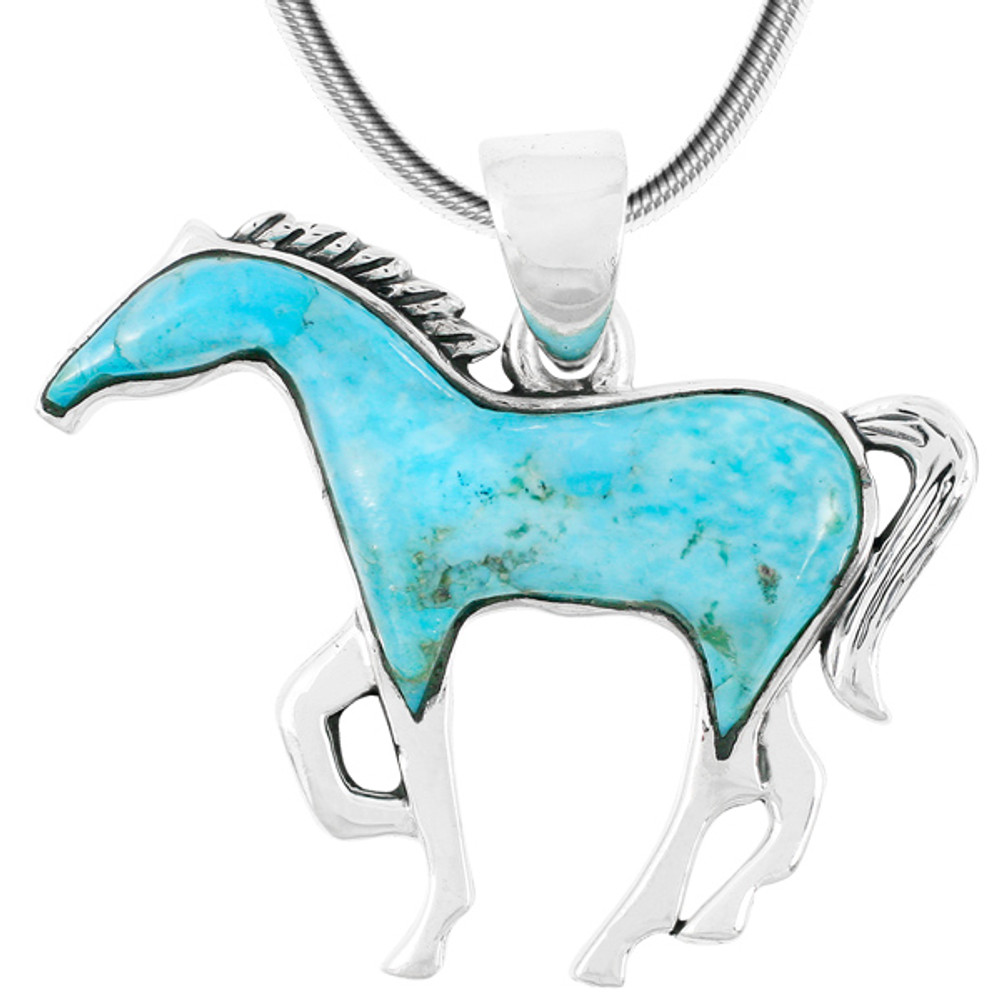 Horse Jewelry Pendant Sterling Silver Turquoise P3049-SM-C75