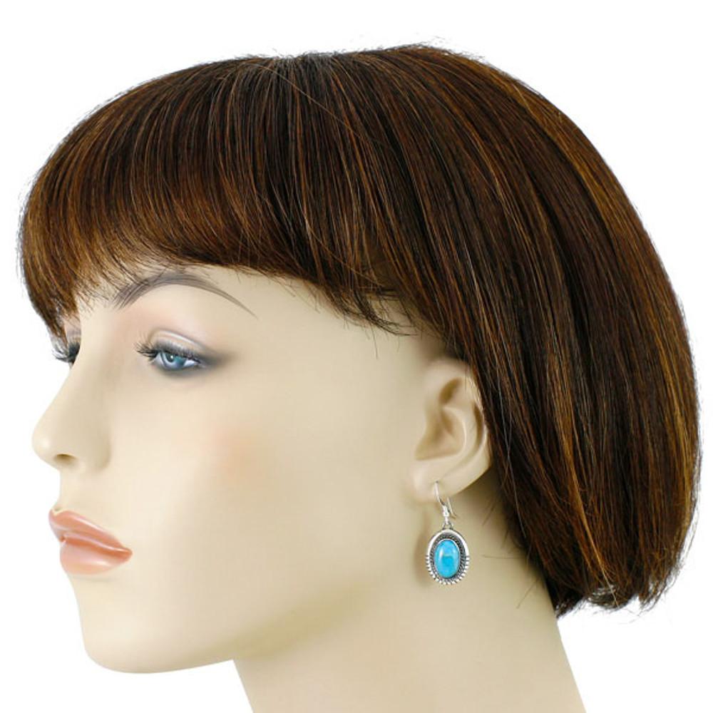 Sterling Silver Drop Earrings Turquoise E1308-C75