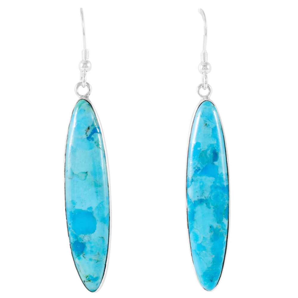 Turquoise Drop Earrings Sterling Silver E1309-C75