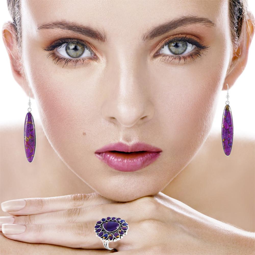 Sterling Silver Drop Earrings Purple Turquoise E1309-C77