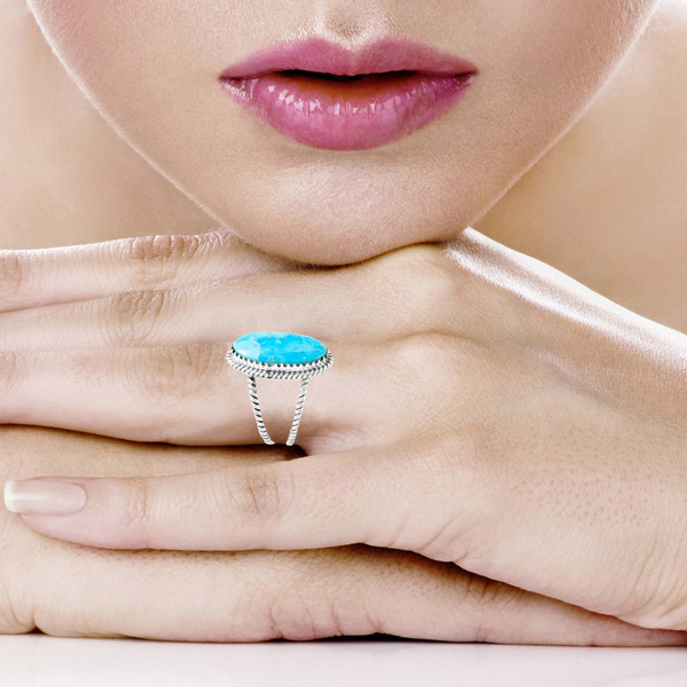 Turquoise Jewelry Ring Sterling Silver R2449-C75