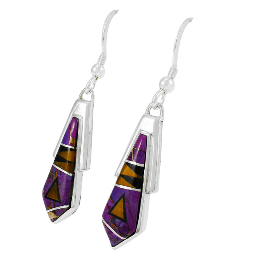 Purple Turquoise Earrings Sterling Silver E1076-C18