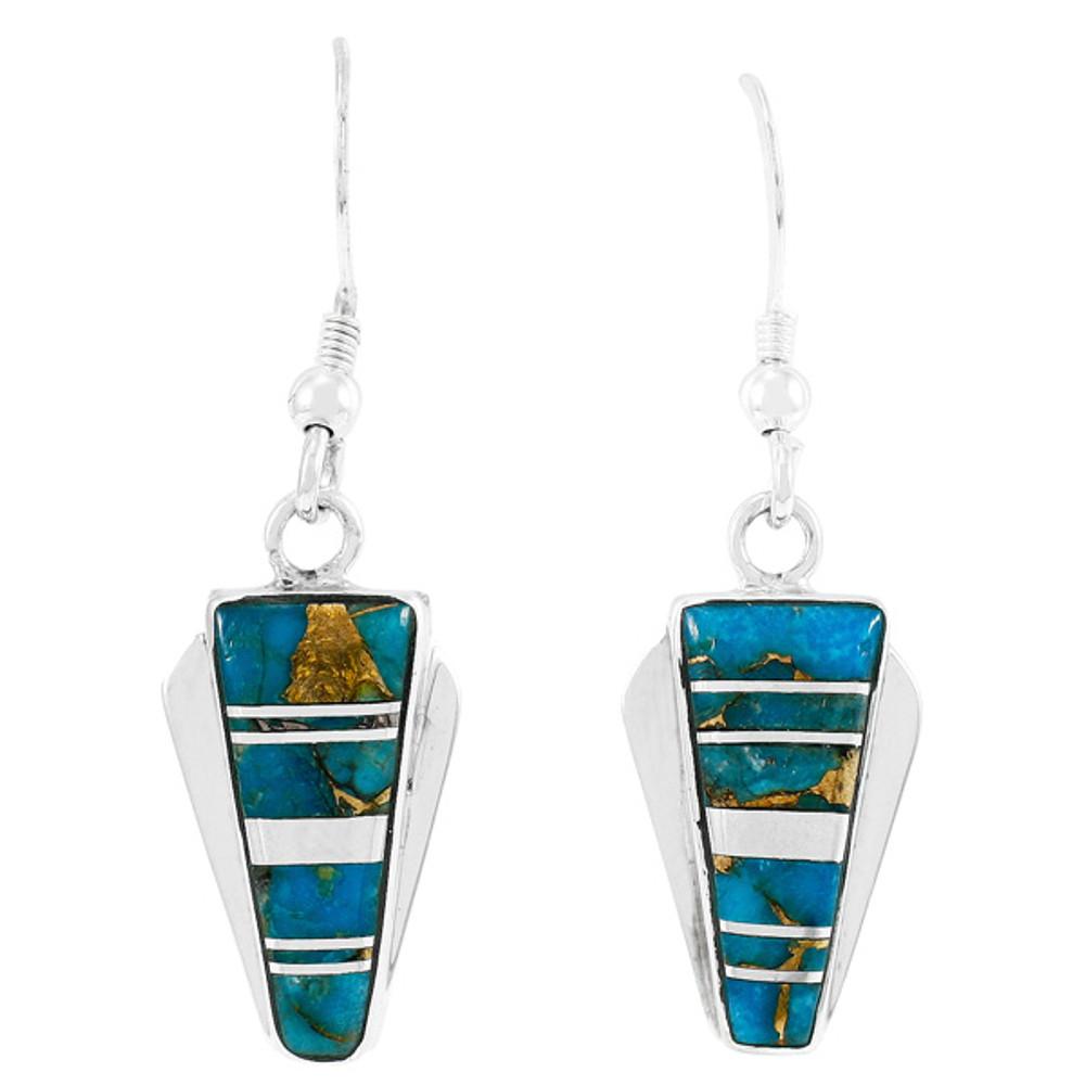Matrix Turquoise Earrings Sterling Silver E1227-C84