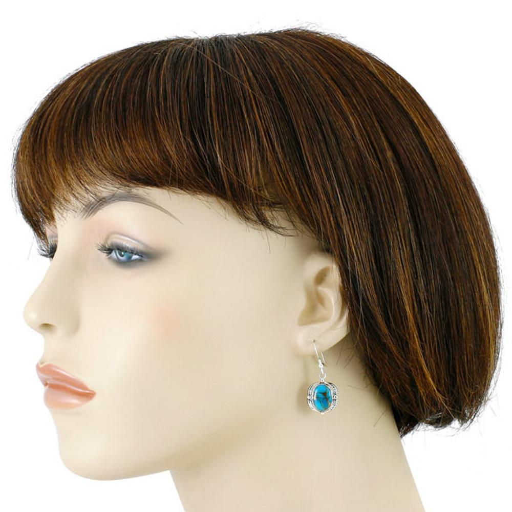 Matrix Turquoise Earrings Sterling Silver E1311-C84