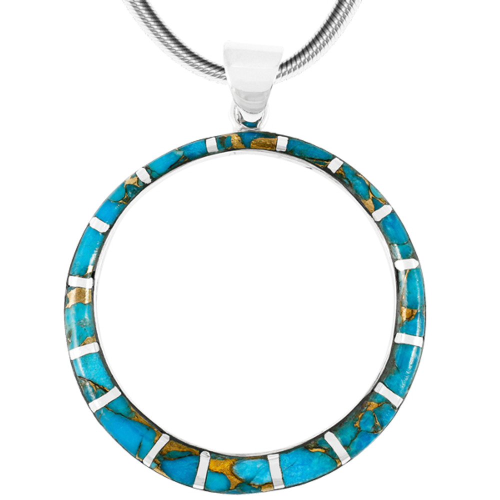Sterling Silver Pendant Matrix Turquoise P3124-C84