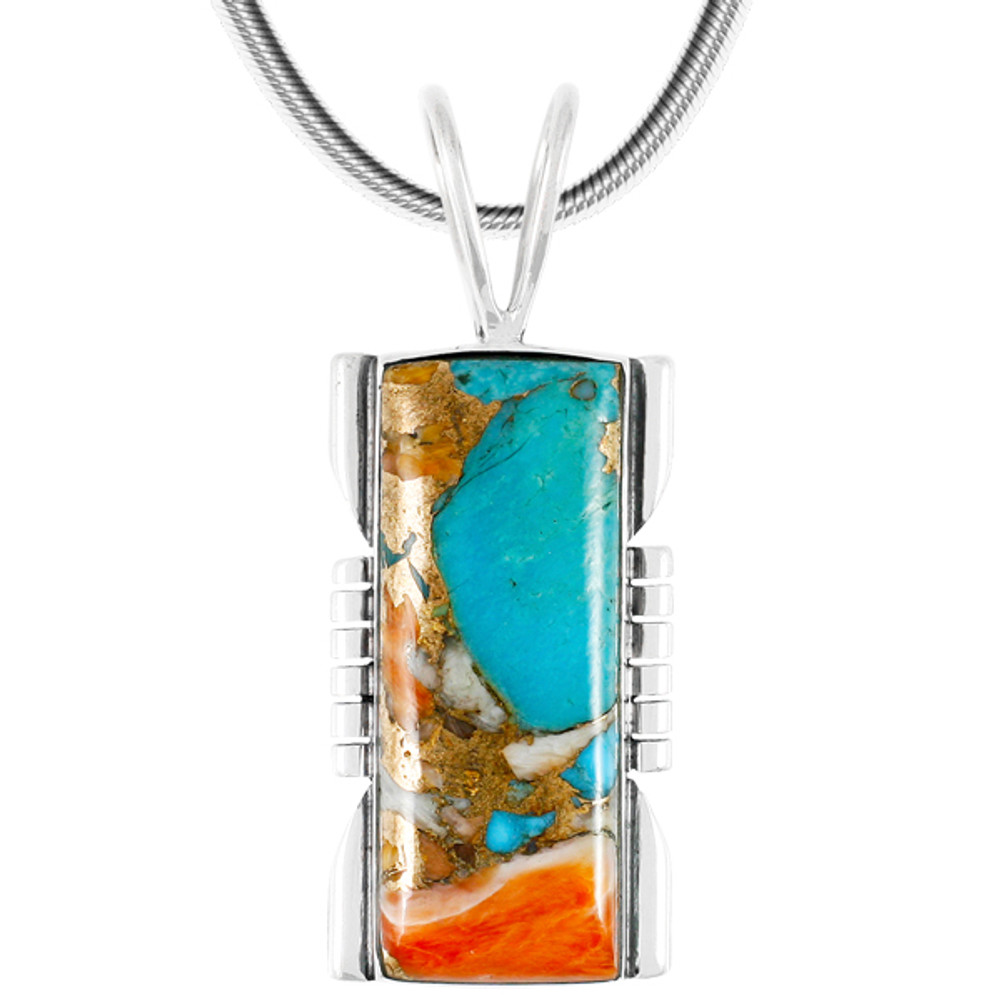 Spiny Turquoise Pendant Sterling Silver P3044LG-C89