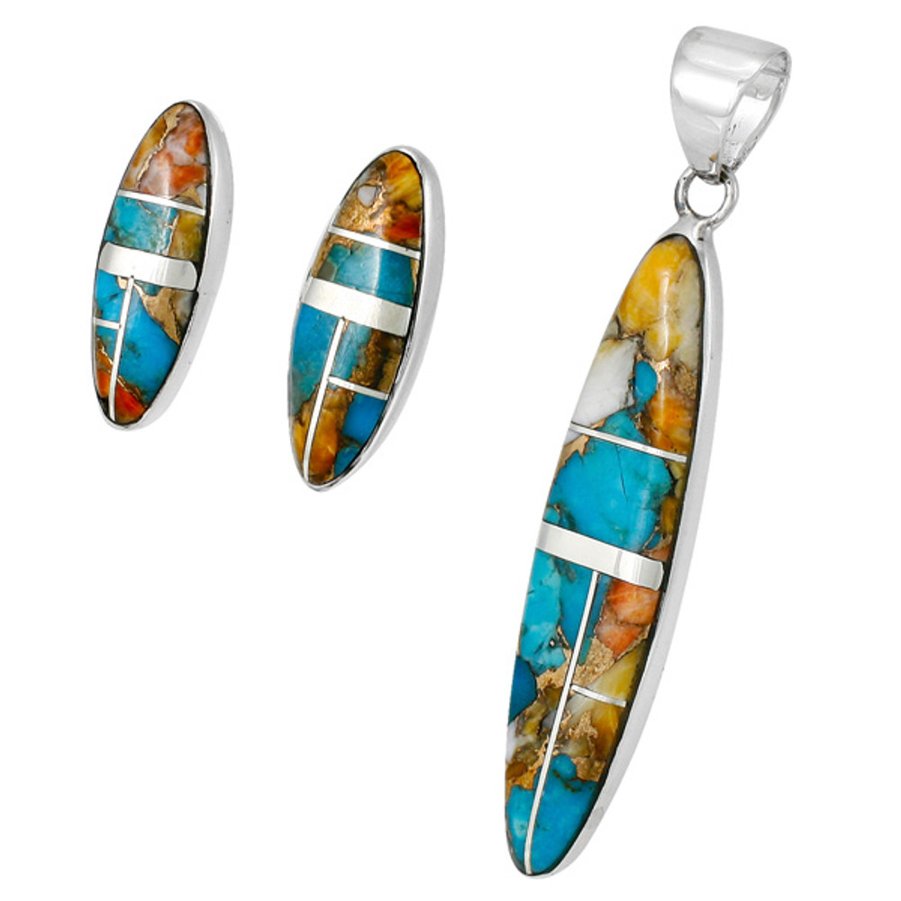 Spiny Turquoise Pendant & Earrings Set Sterling Silver PE4008-C89B