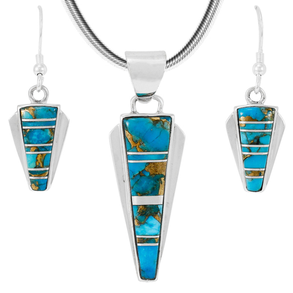 Matrix Turquoise Pendant & Earrings Set Sterling Silver PE4033-C84