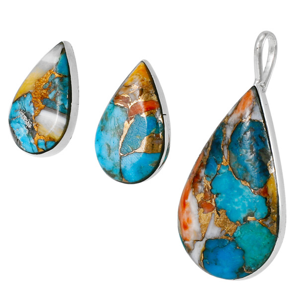Sterling Silver Pendant & Earrings Set Spiny Turquoise PE4057-C89