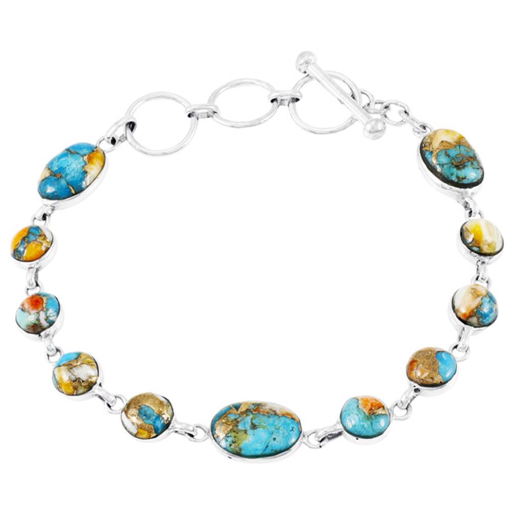 Spiny Turquoise Link Bracelet Sterling Silver B5558-C89