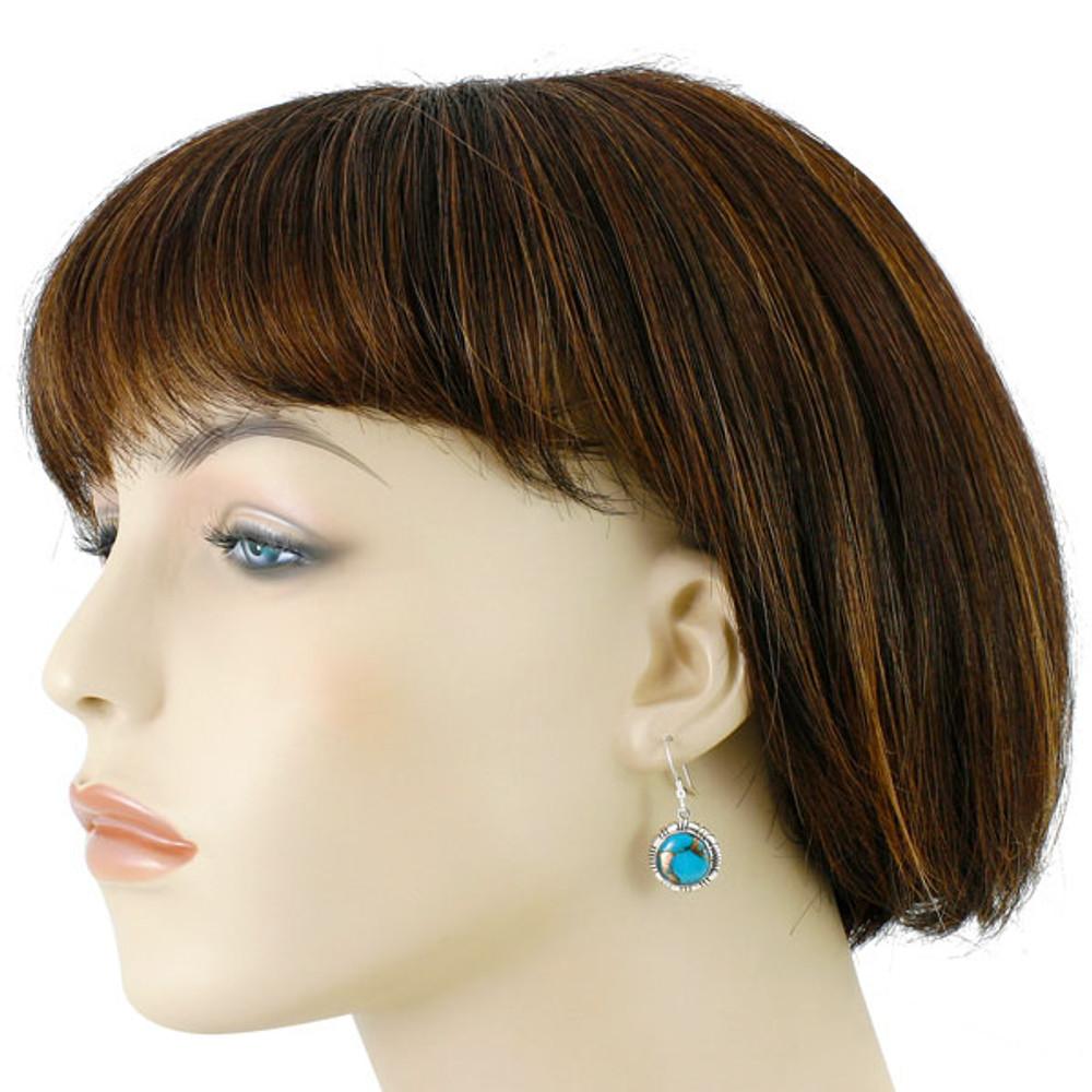 Sterling Silver Earrings Matrix Turquoise E1321-C84